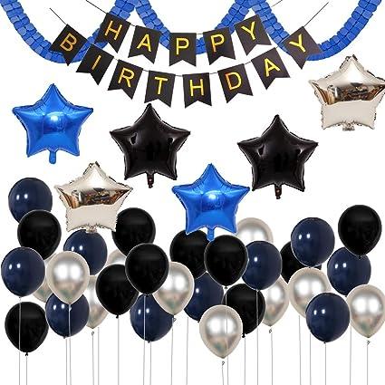 Paquete De 38 Globos Para Decoración De Fiestas De Cumpleaños Infantiles Color Azul Marino Plateado Y Negro De 18 Pulgadas Con Guirnalda De Trébol De Látex De 12 Pulgadas Toys Games