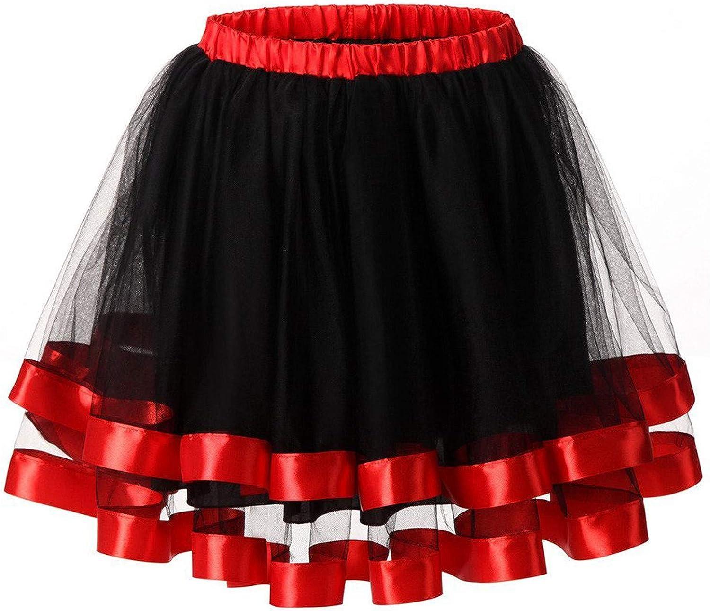 NIDOV Women's Color Contrast Puffy Tutu Tulle Skirt Elastic Waist Lace Princess Pettiskirts