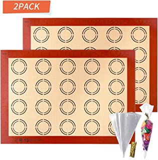 APLUGTEK Silicone Baking Mats, Non Stick Macaroon Baking Mat, Perfect Silicone Liner for Making Macarons, Pastry, Pizza, Bread Making, Dough Rolling Mat, 2-Pack