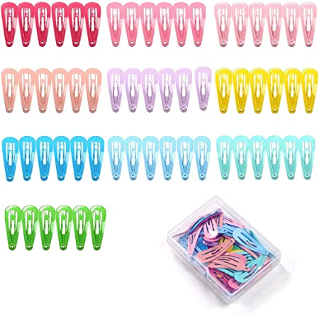 24 set small gingham cotton hair clip covers /& silver snap clips 35mm for child