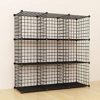 comprar comparacion SIMPDIY estanteria Modular Malla Almacenamiento, librería Armario 9 Cubos, estanterias metalicas almacenaje Alta Capacidad...