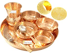 Prisha India Craft Traditional Indian Dinnerware Pure Copper New Dinner Set of Thali Plate, Bowl, Spoon, Fork, Glass - Dia...