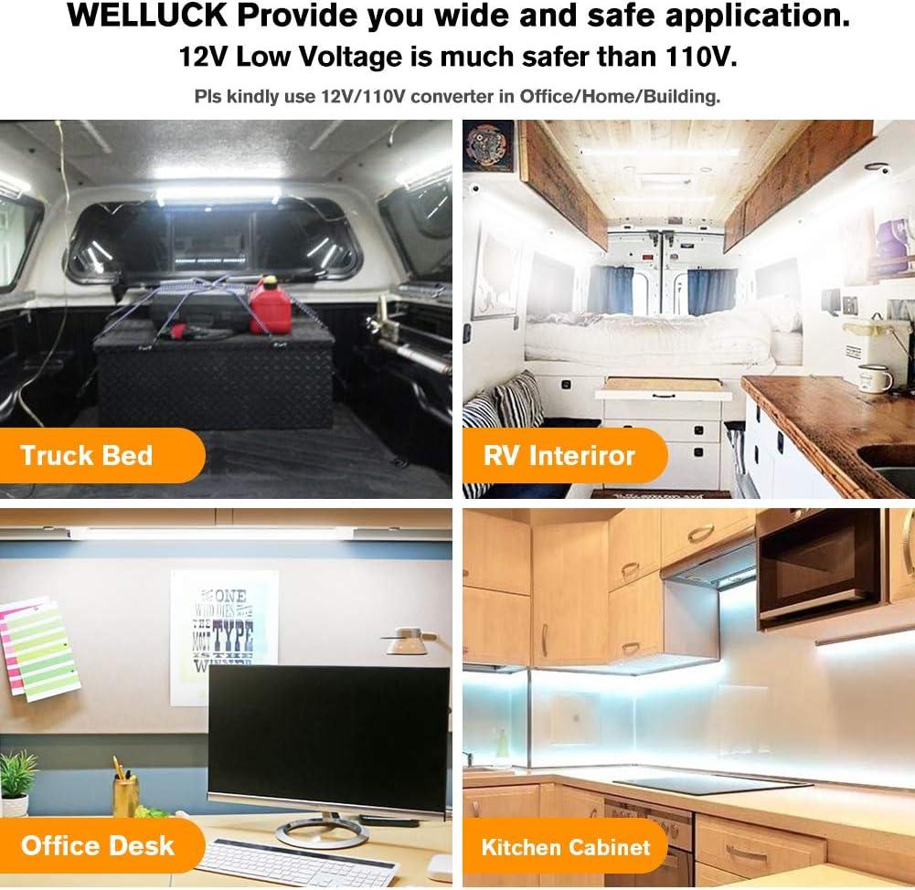 12 volt Led Lighting Van Trailer WELLUCK 12V Interior LED Light Bar Truck Bed 700LM 3W DC 12V LED Light Strip with Switch for Car Cargo Slim Enclosed Trailer Lights Fixture Cabinet RV Boat