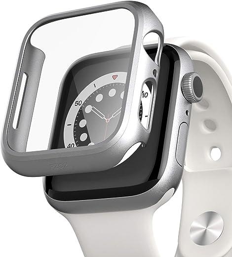 pzoz متوافق مع Apple Watch Series 6/5/4 /SE 44mm Case مع ملحقات واقي الشاشة رفيع واقي ممتص للصدمات تغطية كاملة غير لامعة غطاء صلب حافة واقية لهواتف iWatch Women Men GPS (فضي)