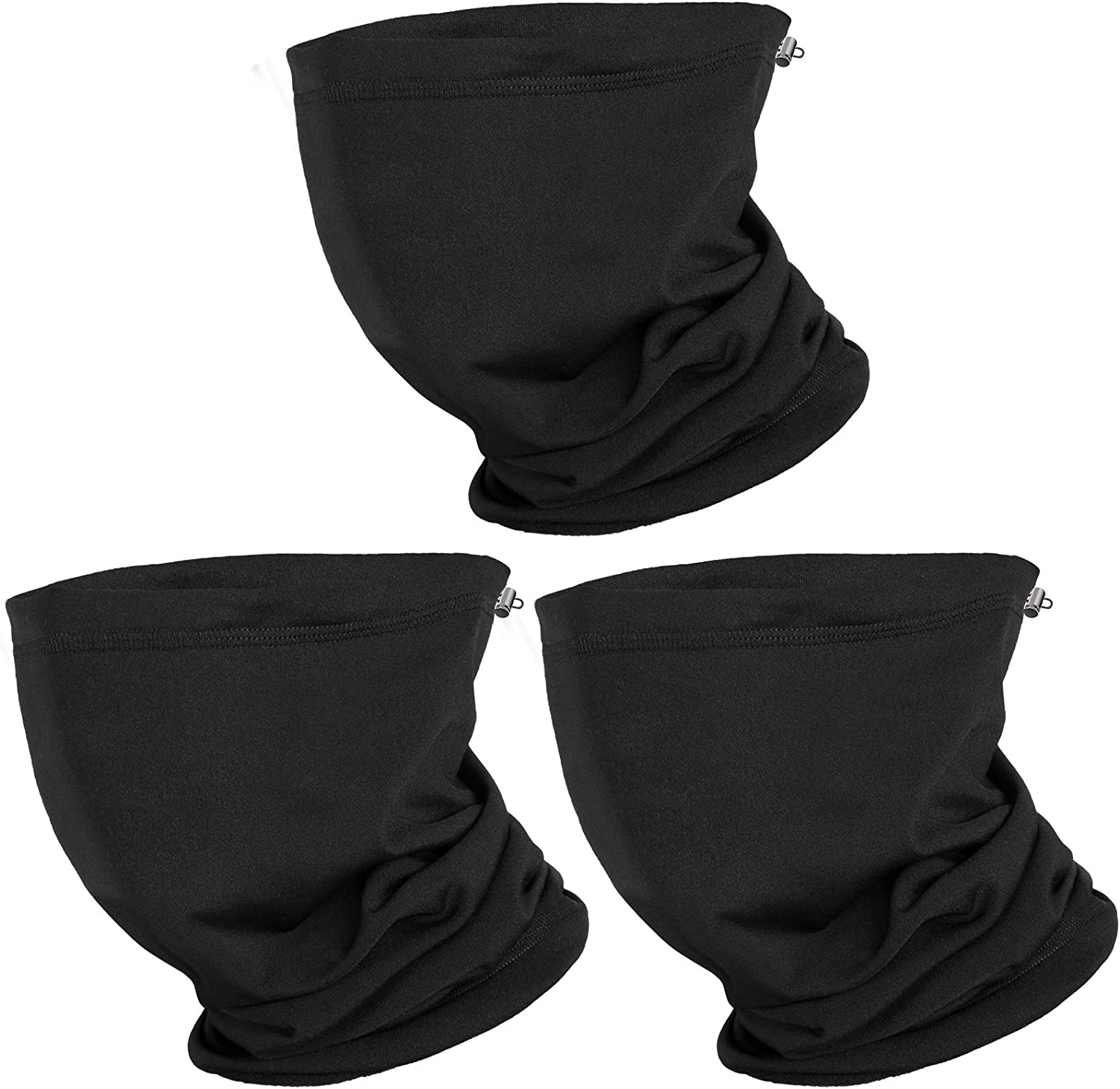 Pack of 3 Adjustable Neck Gaiter Warmer- Outdoor Black Face Mask with Drawstring Windproof Winter Warm Face Cover Cold Weather Scarf Headwear for Skiing Cycling Hiking Snowboard Running Workout