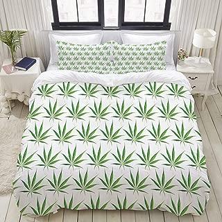 "Mokale Bedding Duvet Cover 3 Piece Set - Marijuana Cannabis Leaf Art Print - Decorative Hotel Dorm Comforter Cover with 2 Pollow Shams - Twin 68""x86"""