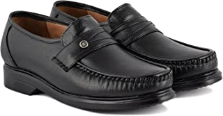 Leathersofty Men's Synthetic Leather Black Formal Moccasins Shoes