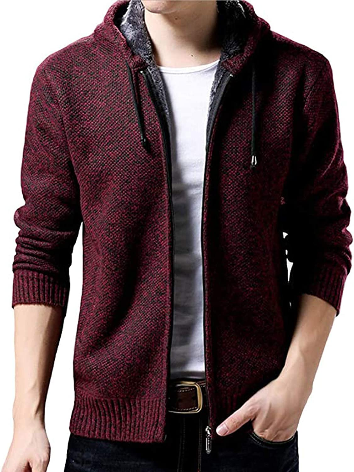 Beshion Men's Hooded Sweater Coat Long Sleeve Cardigan Sweater Open Front Cable Zip-Up Shirt Solid Color Jacket