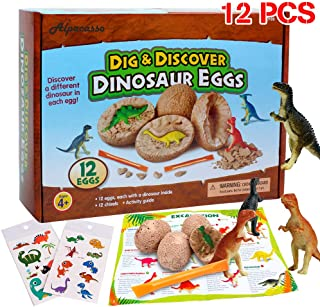12 PCS Dinosaur Eggs Dino Favors Jurassic Dinosaur Birthday Party Supplies Toys, Dino Egg Dig Kit Toys, Dinosaur Party Favors STEM Toys for Boys Girls Age 4 5 6 + (2 pcs dinosaur temporary tattoos).