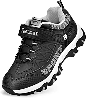 Feetmat Kids Hiking Shoes Waterproof Athletic Trail Running Sneakers Boys Girls Black