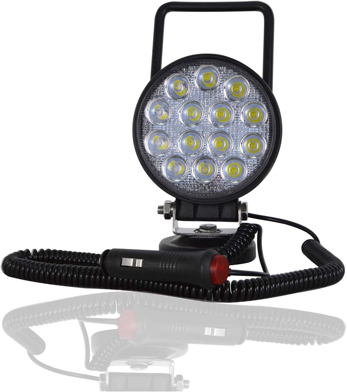 Willpower - 1 luz LED de trabajo de 42 W con imán, base magnética, encendedor de cigarrillos, focos LED portátiles redondos de 4 pulgadas para 4x4 SUV Offroad Tractor Truck Engineering