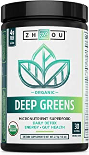 Zhou Deep Greens | Organic | Morning Complete Prebiotic Probiotic Powder | Green Blend of Wheatgrass, Spirulina, and Maca ...