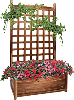 UNHO Wood Planter Box with Trellis, Free Standing Plant Raised Bed Large Plant Trough Container Box for Patio Garden Yard