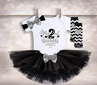 2nd Birthday Tutu Outfit - Black Silver Birthday - Two Birthday Tutu - Birthday T Shirt - Cake Smash Outfit - Second Birthday Outfit
