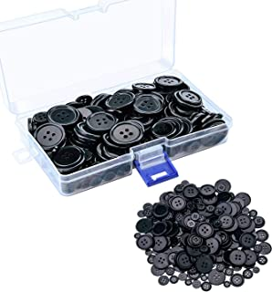 180 pcs Buttons Round Resin Sewing Button with Storage Box, 4 Holes 6 Sizes (Black)