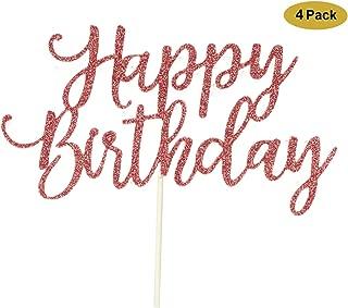 4 Pack Happy Birthday Cake Topper Rose Gold, 1st First Happy Birthday Cupcake Topper, Rose Gold Decoration