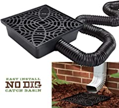 12-in. No Dig Low Profile Catch Basin Downspout Extension Kit, Black