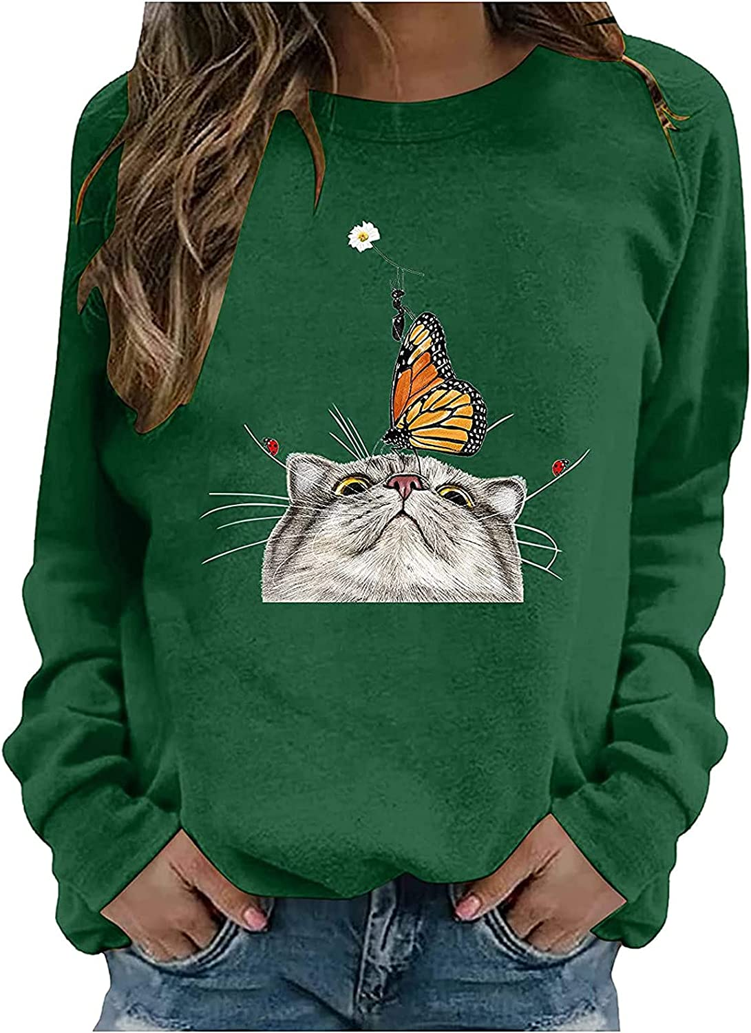 Crewneck Sweatshirts for Women Funny Cat Printed Long Sleeve Tshirts Loose Comfy Pullover Workout Tops