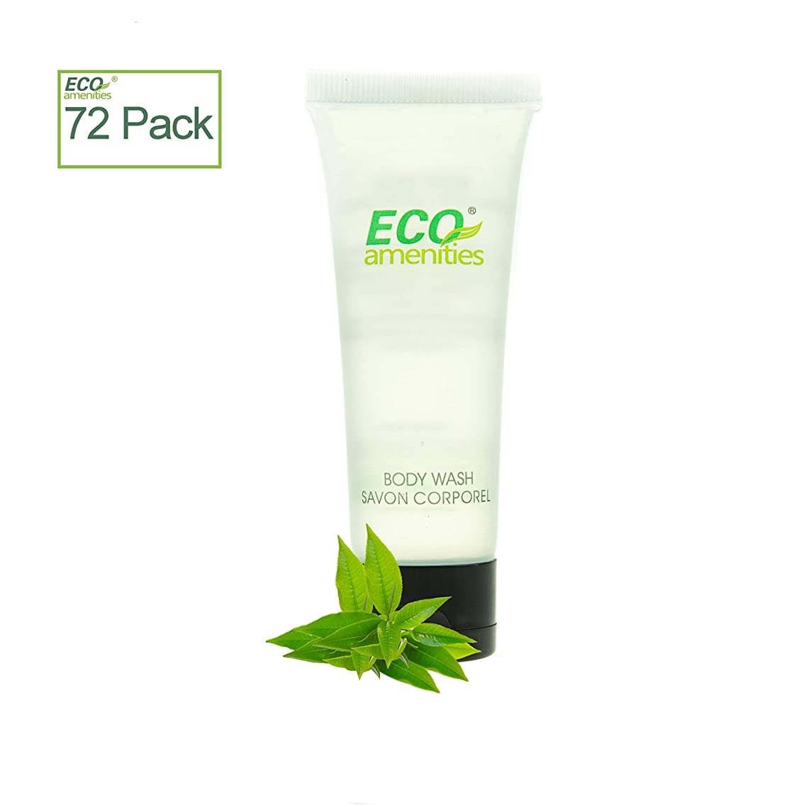 ECO AMENITIES Transparent Tube Flip Cap Individually Wrapped 30ml Shower Gel, 72 Tubes per Case