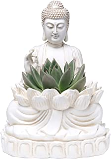 "BELLA HAUS DESIGN Buddha Planter – 9.5"" Tall Polyresin - Zen Plant Pot Holder for Succulent, Flower, Cactus - Garden Lotus..."