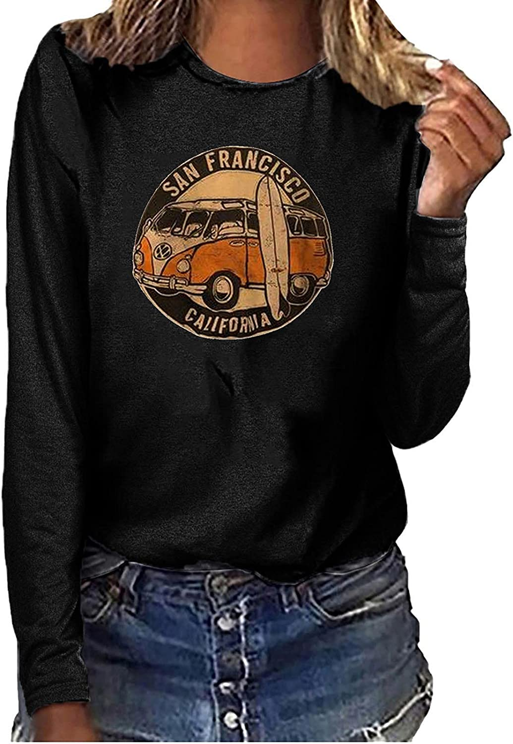 Womens Sweatshirt Vintage Car Printed Tops Loose Long Sleeves Pullover Round Collar Casual Blouse