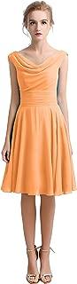 CladiyaDress Women V Neck Chiffon Ruffles Short Bridesmaid Dress Party Gown D101LF
