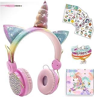 Auriculares con cable para niñas, diseño de unicornio rosa, con orejas de gato, para niños, adolescentes, tableta, laptop, con volumen limitado de 85 dB y micrófono, para escuela, cumpleaños o regalos de Navidad