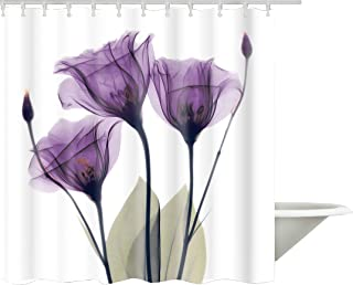 Ao blare Purple Flower Shower Curtain Violet Floral Decor Polyester Fabric Bathroom Set with Hooks 72X72Inch (Purple)