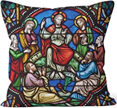 Nine City Sermon on The Mount Stained Glass Throw Pillow Cushion Cover,HD Printing Decorative Square Accent Pillow Case,26
