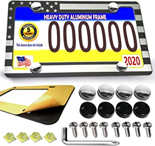 American Flag License Plate Frame - USA Billet Aluminum Tactical Patriot License Plate Cover Auto Car Truck Tag Holder Black and White Stripes Plate Holder Stainless Steel Screws Anti-Rattle Foam Pad