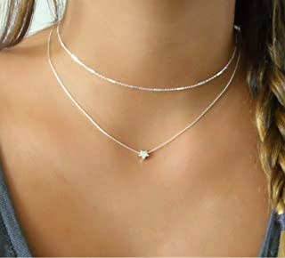 Silver Necklace Set Of 2 - Silver choker & Silver Star Necklace - 925 Sterling Silver