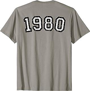 1980 (Vintage Schwarz-Weiß / Rückenaufdruck) 40. Geburtstag Geschenk T-Shirt