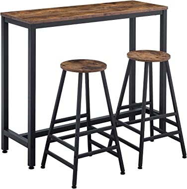 "AMOAK Bar Table Set of 3, Bar Table with 2 Bar Stools, 47 ""Pub Dining Height Table Kitchen Counter with Bar Chairs, Industria"