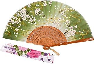 STHUAHE - Ventilador de bambú para decoración de Boda, diseño de Nube convectiva de 21 cm, protección de Mangas de Tela, diseño de Abanico, Verde