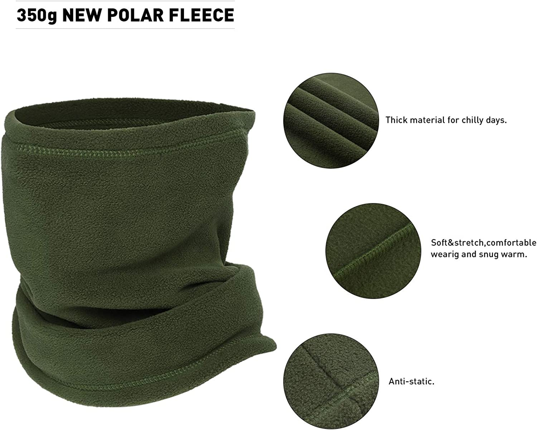Omeneex Neck Gaiter Balaclavas Face Mask Stretch 350g Thick Polar Fleece Washable Heavyweight