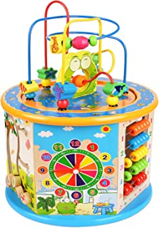 BATTOP Large Multifunction Wooden Activity Cube Bead Maze Educational Toys for Kids Activity Center
