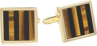 Men's Square Gold Cuff Link W/Onyx & Tiger Eye Stripe