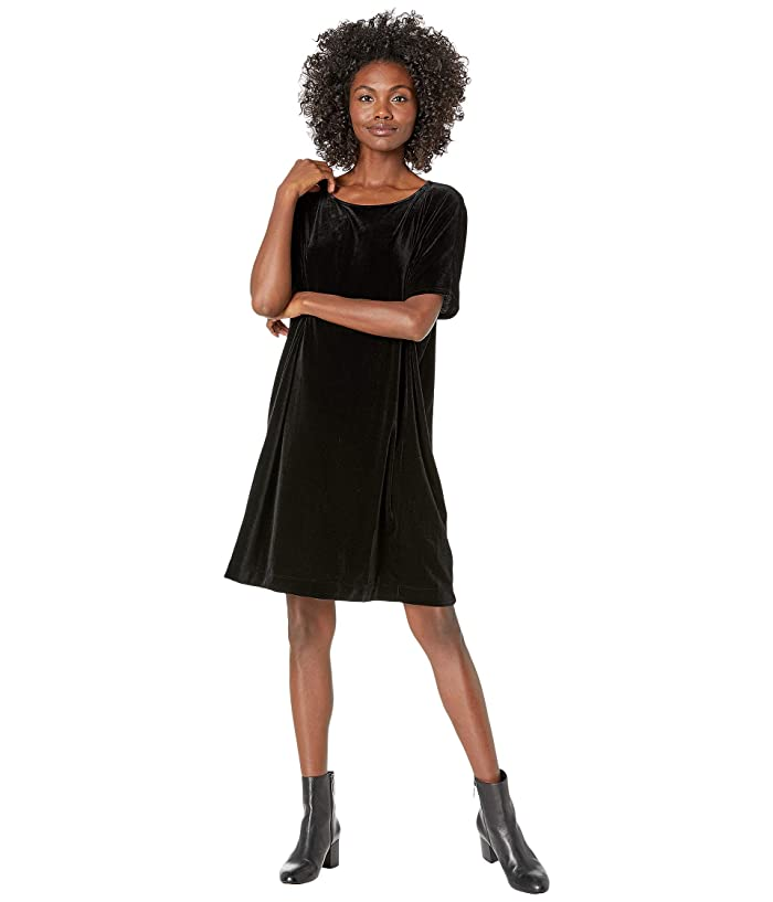 Eileen Fisher  Recycled Polyester Stretch Velvet Round Neck Knee Length Dress (Black) Womens Clothing