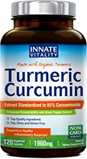 Organic Tumeric Curcumin with BioPerine, 95% Standardized Curcuminoids, 1960mg per Serving, 120 Veggie Caps, Non-GMO,Gluten Dairy & Soy Free, Anti-Inflammatory,Pain Relief & Joint Support