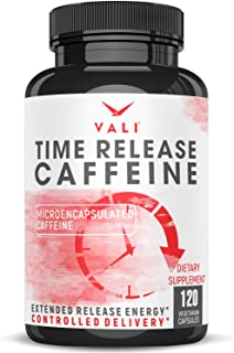 Time Release 100mg Caffeine Pills - 120 Veggie Capsules Microencapsulated for Extended Energy. No Crash Con...