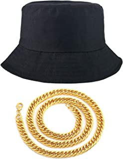 80s/90s Hip Hop Costume Kit - Cotton Bucket Hat + Gold Chain, Cool Rappers Kpop Idols Outfits