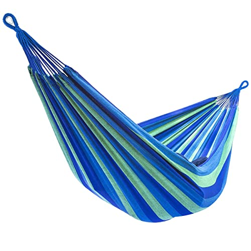 Cotton Hammock Double Striped Blue Green Handmade /'Tropical Day/' NOVICA Brazil