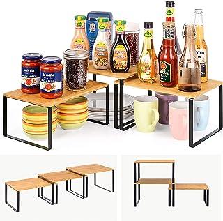 ikkle étagère de cuisine,étagère à épices Bambou,Organisateur de placard de comptoir extensible et empilable pour Organisa...