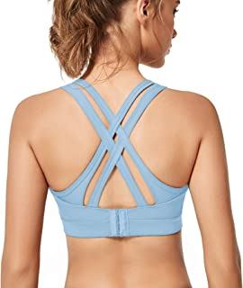 Yvette Sports Bra, Women's Criss Cross Back Workout Bra-High/Low Impact Support Full Figure Plus Size Strappy Bra