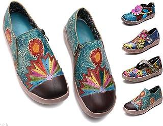eaeec6c7 gracosy Mocasines de Cuero Merceditas Zapatos Planos para Mujer Verano  Slip-On Hecho a Mano