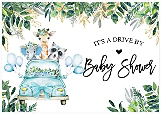 Allenjoy 7x5ft Safari Animal Drive by Backdrop for Boy Party Supplies Decorations Oh Baby Shower Honk Birthday Jungle Blue...