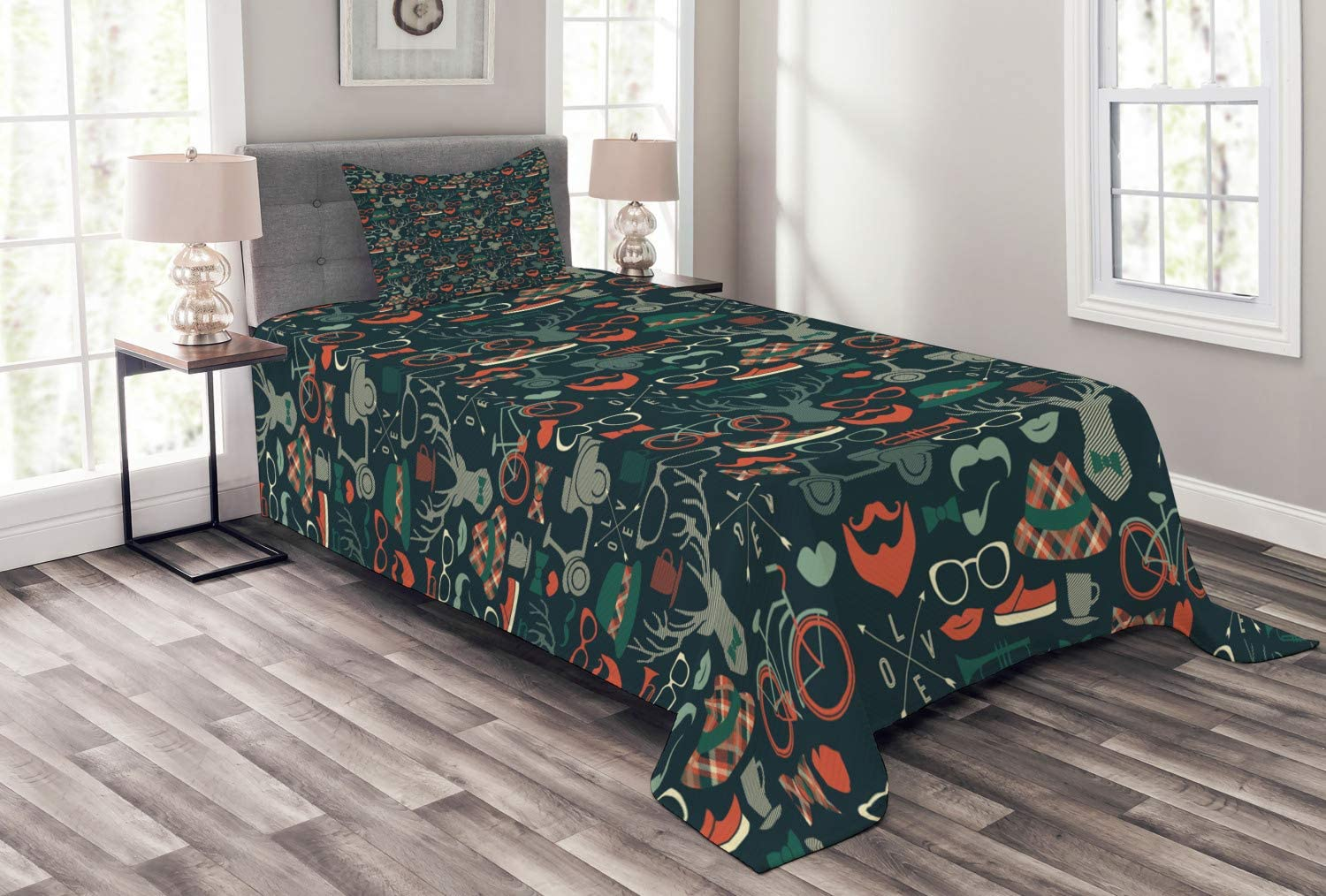 Ambesonne Detroit Mall free Hipster Bedspread Caribou Reindeer Antlers Plaid Hat