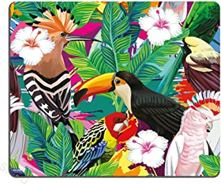 SSOIU Gaming Mouse Pad Custom,Tropical bird toucan leaves and hibiscus flowers Personality Desings Gaming