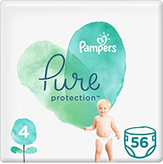 Pampers Pure Protection Diapers, Size 4, 9-14kg, 56 Count Pack of 2 pieces