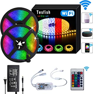 Tesfish LED Strip Lights 32.8ft RGB LED Color Changing Lights Kit, 5050 Waterproof LED Strip Lights with Remote, Wireless WiFi Controlled Work with Alexa Google Assistant for Home, Kitchen Decoration